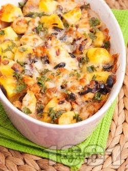 Запечени картофи с пиле и маслини - снимка на рецептата